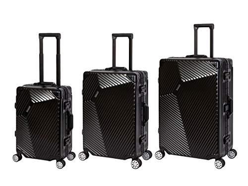 Travelhouse Roma Koffer Set schwarz S-55cm + M-65cm + L-77cm · Alu Rahmen · Polykarbonat Hartschale · Reisegepäck Reisetrolley Trolley · Je 2X TSA Zahlenschloss · 44L + 67L + 108L