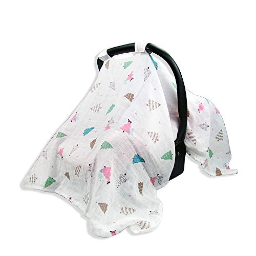 Car Seat Canopy, Rquite 2 in 1 Baby Carseat Covers & Infant Nursing Cover Up Breathable Cotton Muslin, Shower Gift for Breastfeeding Moms Boys Girls