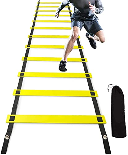 speed ladders DREAM HORSE 12 Rung Agility Ladder, Adjustable Agility Training Ladder, Speed Training Exercise Ladders, Ideal for Soccer, Football, Fitness, Feet Training