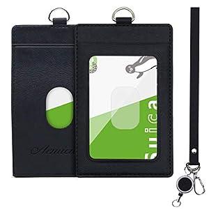 Aemicion 定期入れ パスケース パス入れ リール付き ストラップ付き icカードケース カードケース 革 二面 メンズ レディース 通勤 通学 ブラック