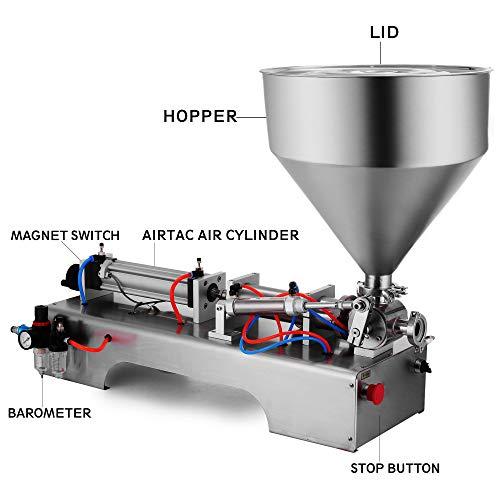 Mophorn Máquina de Llenado de Líquidos de 50-500 ml 0-30 Botellas/min Máquina de Llenado de Pasta Neumática para Pasta Líquida