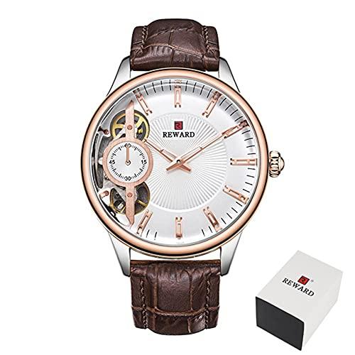 Relojes mecánicos para hombre Tourbillon automático Reloj de cuarzo para hombre de cuero casual de negocios CXSD (color marrón blanco)
