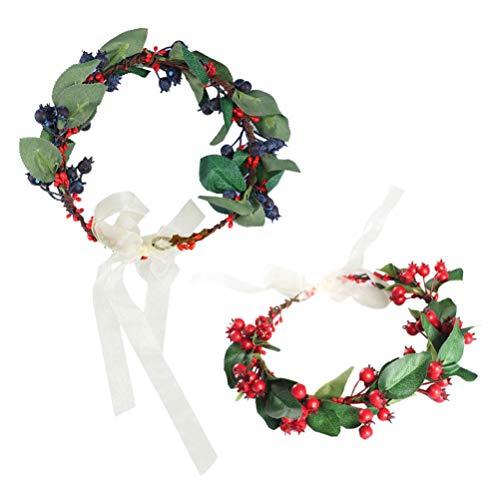 Beaupretty 2pcs ghirlande di bacche di natale corona di fiori corona di fiori corona floreale corona corona fascia di nozze per ornamento decorazione