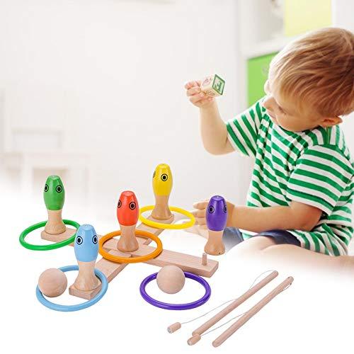 Ecisi Wooden Skittles Game, 3 in 1 Kindergarten-Spieleset, Angelspiel, Quoits Ring Toss Game und Kids Bowling Game Garden Activity Toys