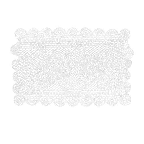 PRETYZOOM Mantel de Encaje de Ganchillo Hecho a Mano Ahuecado Manteles Individuales Rectángulos Posavasos de Cocina Tapetes Boda Mesa de Centro de Mesa Decoración (Blanco 30X50cm)