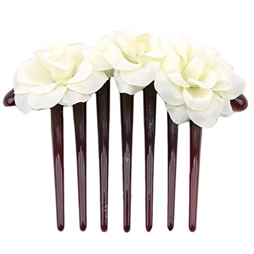 LJSLYJ Simulation de fleur mariée Coiffe épingles à cheveux Peigne Clips cheveux Peignes Accessoires, Beige
