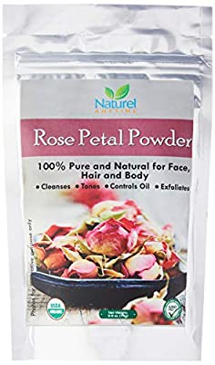 Naturel Anytime Rose Petal Powder - 75gm -100 % Pure and Natural for Face and Body - Two face pack recipe suggestions are provided with the product. USDA ORGANIC certified, Halal, Kosher certified. Helps in removing aging signs, reduces blemishes, dark sp