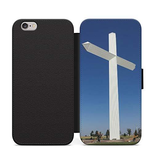 Cruz cristiana azul Jesús cartera cuero Flip teléfono caso cubierta para Samsung Galaxy S7 borde