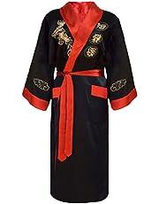 Laciteinterdite män japansk morgonrock kimono vändbar svart och röd