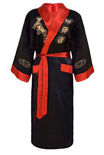 Laciteinterdite Herren japanischer Morgenmantel Kimono umkehrbar schwarz und rot L