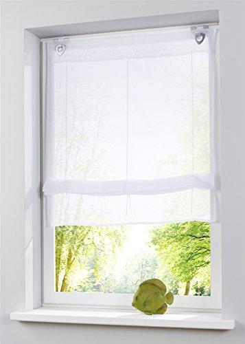 Raffrollo oesenrollo Weiss Transparent Vorhang mit U-Haken B 60cm * H 130cm