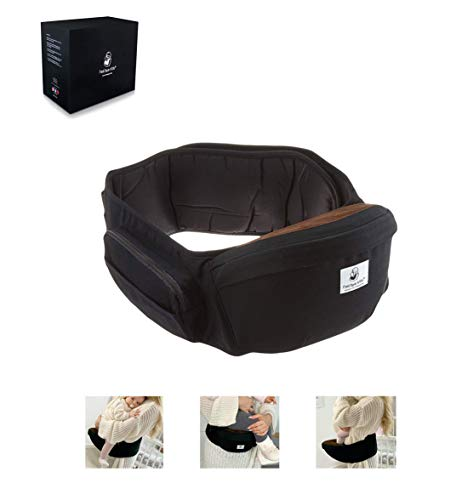 Fastique Kids® Baby Hüftsitz - Babytrage für Neugeborene und Kinder bis 36 Monate - Ergonomische Tragehilfe Multifunktional Taillenlänge 127cm (Schwarz)