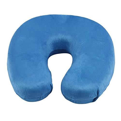 Mejor almohada de viaje de espuma viscoelástica para el cuello, en forma de U, reposacabezas en forma de U, para coche, vuelo, viajes, cojín de enfermería suave (color: azul)