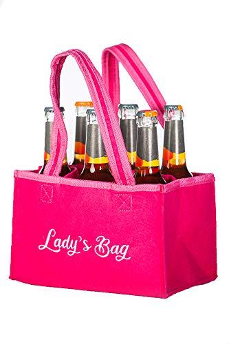 J & J Männerhandtasche für Frauen Damen Ladys Bag Bottlebag Herrenhandtasche Filztasche Flaschentasche Flaschenkorb Flaschenträger Bierträger Prosecoflaschen (Pink)
