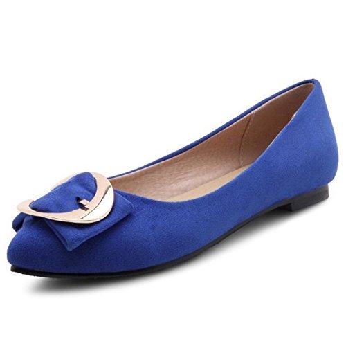 Smilice, scarpe da donna, alla moda, comode, in pizzo, con tacco piatto, Nero (Blu), 44 EU