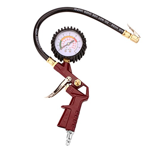 nflador de neumáticos with Flexible Rubber Hose, 3-in-1 Inflation Gun, Lock-On Air Chuck and Pressure Gauge, Range from 0-16bar (0-220 PSI )
