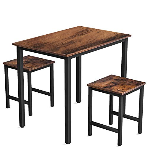 Recaceik 3 Pieces Dining Set, Kitchen Table and Chairs for 2, Perfect for Breakfast Nook, Living Room (Rustic Brown)