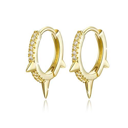 Pendientes de aro de plata de ley 925 bañados en oro con circonita cúbica y geometría para mujeres y niñas.