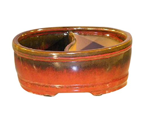 Bonsai Boy Parisian Red Ceramic Bonsai Pot - Oval - Land/Water Divider - 12' X 9.5' X 4'
