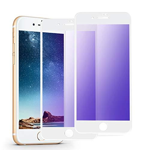 iphone7plus/iphone8plus ガラスフィルム ブルーライトカット 全面 気泡ゼロ(2枚セット/ホワイト)