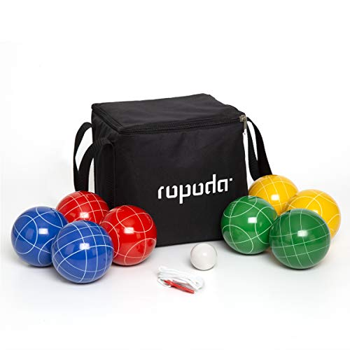 ROPODA 90mm Bocce Ball Set with 8 Balls, Pallino, Case and Measuring...