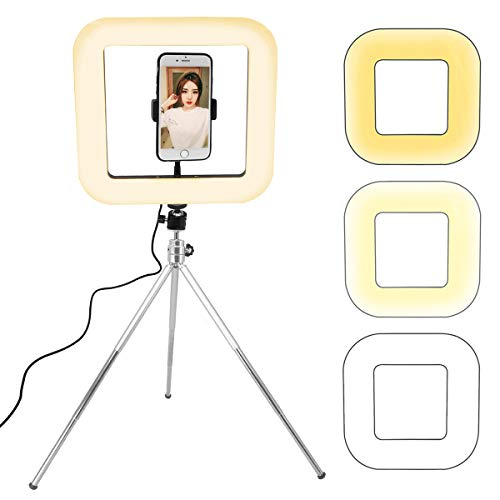 OhhGo Dimbaar Vierkant Led-Licht 3 Lichtmodi Tafellamp Met Statief Mobiele Telefoon Houder