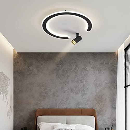 Lámpara LED de techo para dormitorio, salón, mesa de comedor, casa de campo, redonda, decorativa, pantalla acrílica con mando a distancia, regulable, diseño clásico y moderno