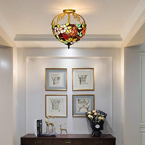 De enige goede kwaliteit Indoor 30CM Europese stijl Retro Tuin Druif Glas Plafondlamp Restaurant Slaapkamer Aisle Corridor Badkamer Glas Plafond Lamp