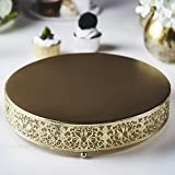 Efavormart 12' Round Lace Gold Metal Wedding Cake Stand, Dessert Display Stand Glossy Metallic Finish for Dessert Cupcake Pastry Candy Display Plate Event, Birthday Party