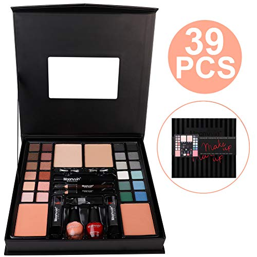 Toyfun All-in-One Makeup Kit 39Pcs Starter Makeup Artist Kit with Mirror, Mascara, 24 Eye Shadows, 2 Brush, 2 Blushes, 3 Lipsticks, 2 Foundations, 2 Eyeliner, 2 Nail Polish for Salon and Daily Use