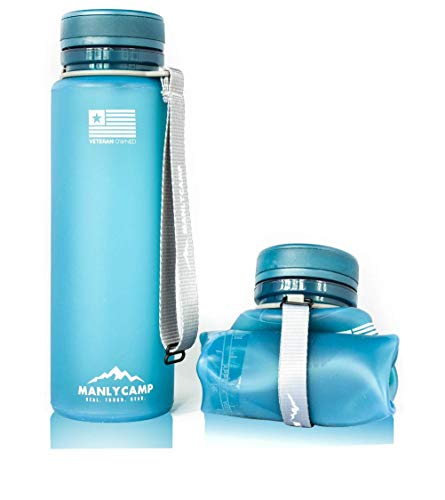 MANLYCAMP REAL. TOUGH. GEAR. Collapsible Water Bottle - 22 Oz - BPA Free Silicone - for Hiking,...