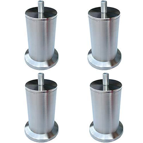 4er Set Möbelfüße Möbelbeine,Edelstahl Tischbein,Metall Sofa Stützfüße,Runde Füße,Kabinettfüße,Dickes Material Möbel Zubehör,mit Vorgebohrten M8 Bolzen,Silber