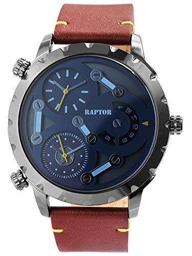 Raptor Herren-Uhr Echt Leder Armband 3 Zeitzonen Analog Quarz RA20285 (braun)