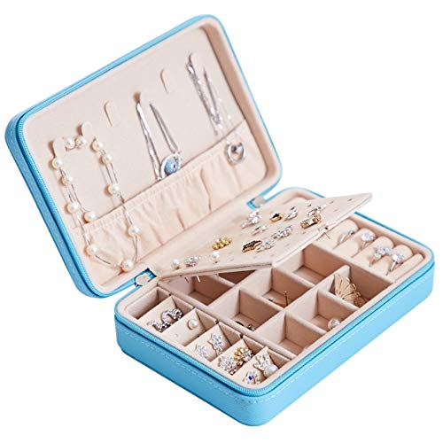 PRYME Jewellery Box Organiser Storage Case Small Travel PU Leather Jewelry Holder for Earrings, Necklace, Rings, Bracelets Girls Women Gift 6.6x4.7x2.4 inches (Blue)