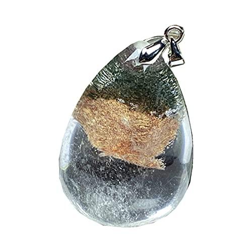 Colgante de cuarzo fantasma natural fantasma para mujeres hombre 39x27x15mm gota de agua cristalina piedra transparente collar colgante joyería AAAAA