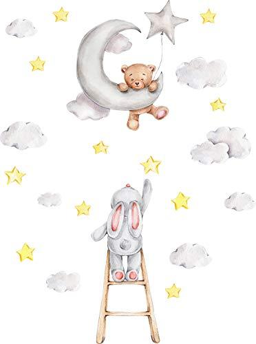 Szeridan D307 45 x 60 cm Teddybär auf dem Mond Kaninchen auf der Leiter Wolken Sterne Tiere Himmel Wandtattoo Babyzimmer Wandsticker Aufkleber Deko für Kinderzimmer Baby Kinder D307 (XXS - 45 x 60 cm)