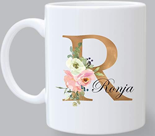 Namenstasse personalisierte Kaffee-Tasse mit Namen und Buchstabe persönliche Geschenke Buchstabentasse .2 Werktagen versandberiet