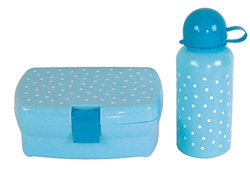 JaBaDaBaDo Set de Fiambrera y Botella de Agua Azul con Puntos
