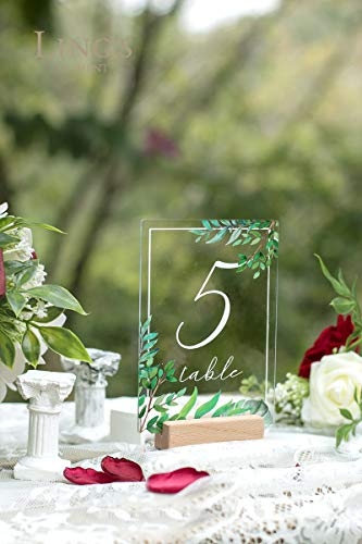Ling's moment Acrylic Table Numbers for Wedding 1-20 with Natural Wood Stands Greenery Calligraphy 4x6 inch