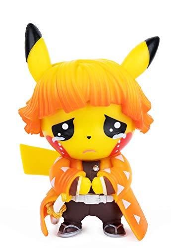 "Demon Slayer Actions Figures Pikachu Cosplay Agatsuma Zenitsu Figure Statues Kimetsu no Yaiba Collection Birthday Gifts PVC 3.5""…"
