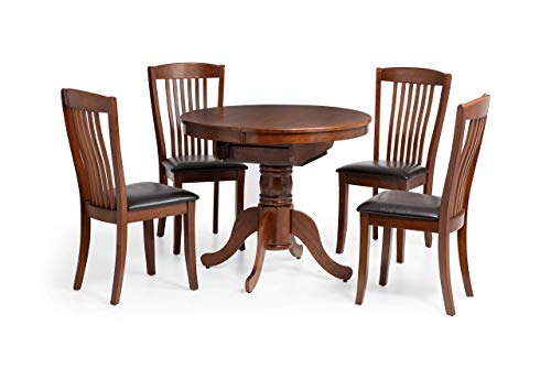 Julian Bowen Canterbury Round to Oval Extending Dining Table, Mahogany