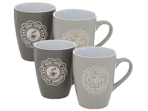 MAIKAI 4er Set Tassen Kaffeebecher Coffee Grau Anthrazit 2 Motive FM 330 ml Kaffee Becher Hochwertig Stilvoll