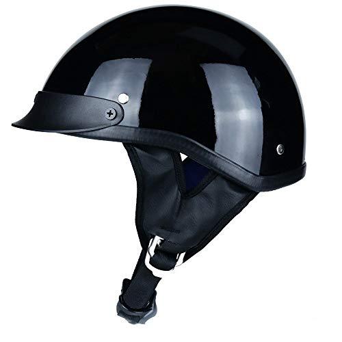 Skingo Cromwell Jethelm Halbhelm Offener ABS-Helm Doppelte Schnalle Cruiser Chopper Skateboard Radfahren Offener Helm DOT/ECE zertifiziert L(59~60cm) A