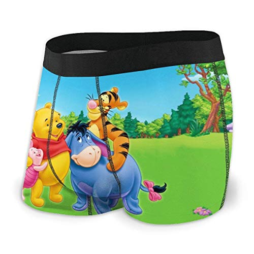 GYYbling Boxer Shorts for Men Anime Cartoon Winnie The Pooh Men's Underwear Stretch Boxers Briefs for Men Short Leg Underpants Breathable Comfortable Fiber Pack
