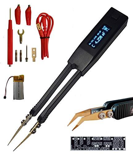 Pinzas inteligentes Medidor de LCR profesional ST5-S con batería adicional y puntas de prueba ergonómicas dobladas Medidor de ESR Multímetro digital Garantía de 2 años Medidor de inductancia