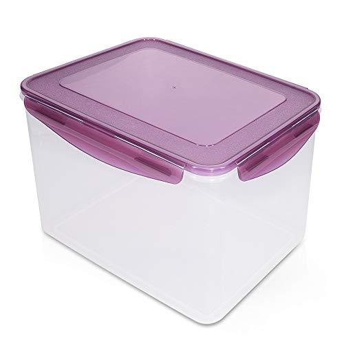 Navaris Recipiente hermético multifunción Rectangular - Bote para almacenaje de Comida - Envase Grande con Tapa para Guardar Alimentos Capacidad 9 L