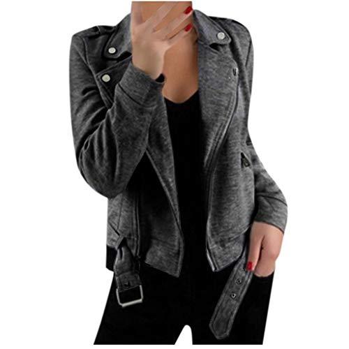 JURTEE Giacche Donna Invernale Cappotti con Borchie Blazer Trench Risvolto con Zip Cappotto Giacca con Cintura Maniche Lunghe Jacket Giubbotto