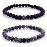Armband Männer mit Perlen, Herren Armband, Perlenarmband in verschiedenen Farben (Schwarz - Grau)