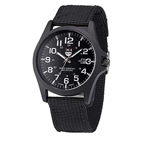 Kaitoly Herren-Armbanduhr, Datumsanzeige, Kalender, Edelstahl, Militär-Stil, analog, Quarz, Armee-Armbanduhr, Herren, Schwarz