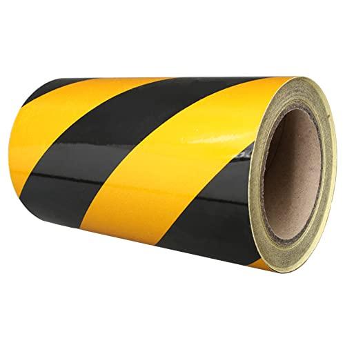 Black/Yellow Hazard Warning Tape, Safety PVC Tape Adhesive Marking Barrier Tape Waterproof Caution Barricade Tape - 20Cm25M
